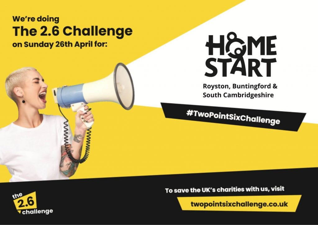 Banner showing the 2.6 challenge logo and graphics supporting Home-Start Royston, Buntingford & South Cambridgeshire
